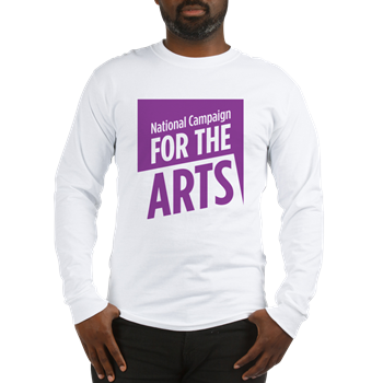 Long-sleeved white t-shirt with the National Campaign For the Arts logo on the front